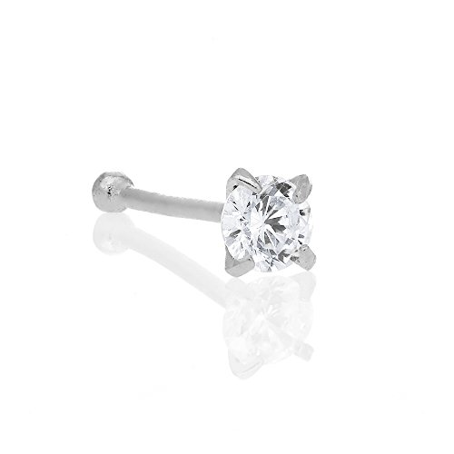 (JewelStop 14K Solid White Gold Nose Ring Bone CZ Prong Ring - 2mm 20 Gauge)