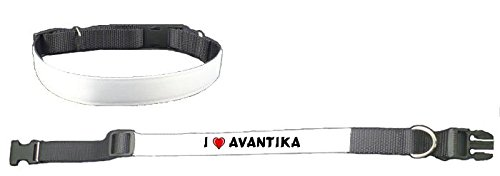 Personalized Dog Collar with I love Avantika (first name/surname/nickname)