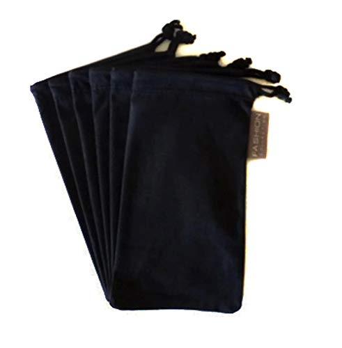 Bag Microfiber - 6 PC Eyewear Eyeglass Microfiber Soft Cleaning Cloth Bag Pouch Case BLACK