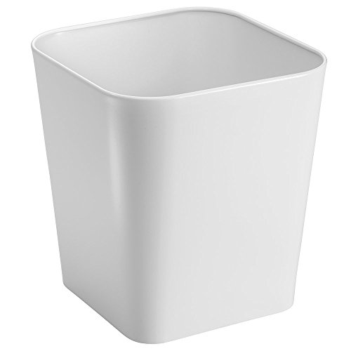 mDesign Metal Square Small Trash Can Wastebasket, Garbage Container Bin for Bathrooms, Powder Rooms, Kitchens, Home Offices - Solid Steel Construction in White (Bin White Square)