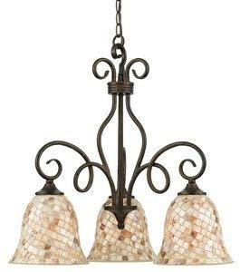"Quoizel MY5103ML Monterey Mosaic Genuine Pen Shell Downlight Chandelier, 3-Light, 300 Watts, Malaga (24"" H x 24"" W)"