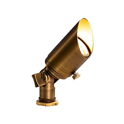 Lumen Logic Low Voltage Outdoor Mini Spotlight (Brass) with LED Bulb, Mounting Stake for 12V Yard, Lawn, Landscape Lighting
