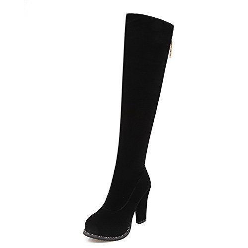AllhqFashion Womens Zipper High-Heels Imitated?Suede Solid High-top Boots Black