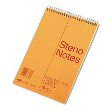 National Brand Standard Spiral Steno Book, Gregg Rule, 6 x 9, Green - 80 Sheets/Pad (Case Pack of 12)