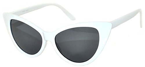 OWL Vintage Cat Eye Sunglasses Smoke Lens White - Frames Vintage Online