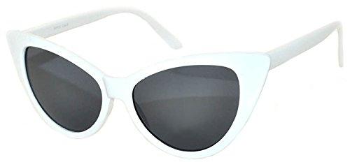 OWL Vintage Cat Eye Sunglasses Smoke Lens White - White Sunglass Lenses