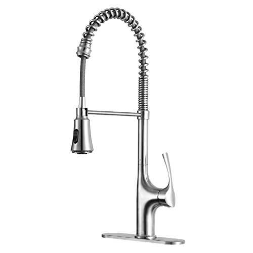 Primy Modern Commercial Heavy Duty Lead-Free Strainless Steel Single Handle Pull Out Pull Down Sprayer Sink High-Arc Kitchen Faucets with Deck Plate, Strainless (Pull Out Single Step)