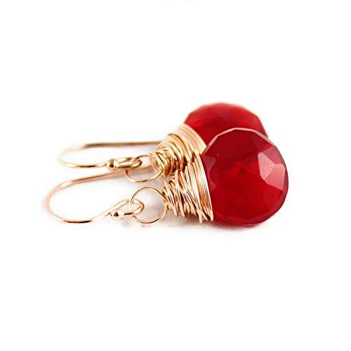 (Apple Red Rose Gold Filled Earrings )