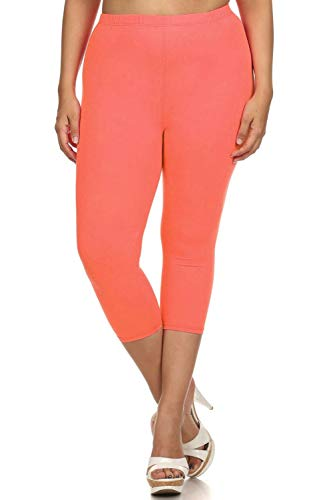 (Leggings Mania Women's Solid Colored Capri Leggings Plus Size Coral)