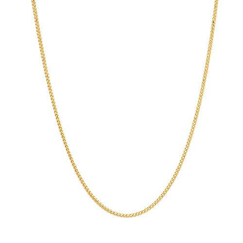 Pori Jewelers 18K Solid Gold 1.5mm Franco Square Box Chain Necklace for Women - Lobster Clasp (18)
