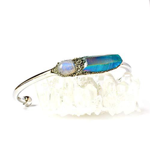Boho Raw Crystal Cuff Bracelet Jewelry with Birthstone Moonstone and Gemstone Tanzine Aura Quartz