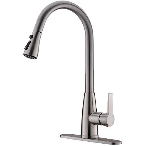 Hotis Modern High Arc 1 or 3 Hole Single Handle Stainless Steel Prep Sprayer Pull Out Pull Down Sprayer Kitchen Sink Faucet,Brushed Nickel with Deck Plate 3 Hole High Arch