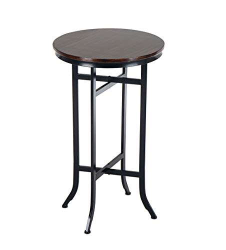 (Bar Bistro Cocktail Pedestal Tables for Kitchen, Dining Room - Bistro, Coffee, Living Room Table - Wood and Metal Tables, Black)