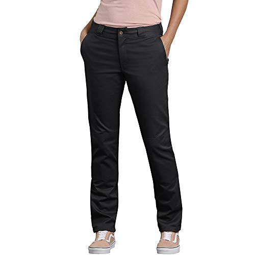 Dickies Women's Double Knee Work Pant with Stretch Twill, Black, 8