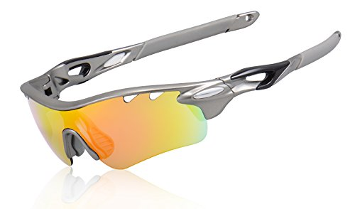 KuKoTi Polarized Sports Sunglasses Outdoor Cycling Sun Glasses with 5 Interchangeable Lenes for Men Women Golf Fishing Running Baseball (565-Space Gray)