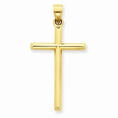 Hollow Tube Gold Cross - 14k Yellow Gold Polished Hollow Tube Cross Crucifix Pendant (38mm x 20mm)