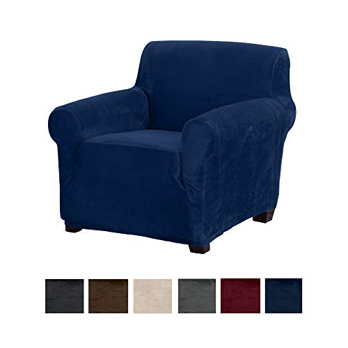 Great Bay Home Modern Velvet Plush Strapless Slipcover. Form Fit Stretch, Stylish Furniture Cover/Protector. Gale Collection Brand. (Chair, Dark Denim Blue) (To Where Rocking Cushions Chair Buy)