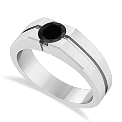 (1.00 ctw) 14k White Gold Men's Black Diamond Solitaire Ring.