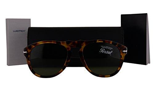 Persol PO0649S Sunglasses Havana w/Green Lens 10524E 54mm PO - 3019s Polarized Persol