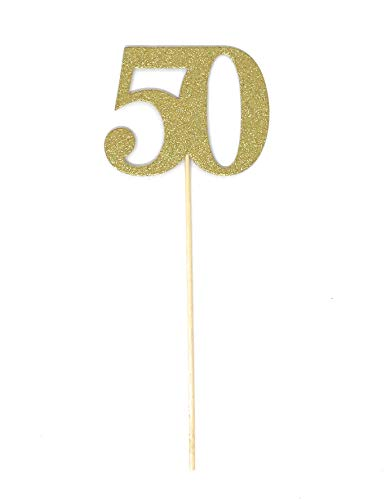 (PaperGala 10 Pack Gold Number 50 Double Sided Gold Glitter Centerpiece Sticks DIY Reunions, Anniversaries, and Birthdays (Gold,)