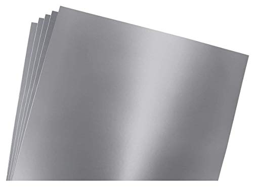 Silver Metallic (glossy) 5-pack of adhesive vinyl sheets - 12x12 outdoor/permanent - VinylxSticker