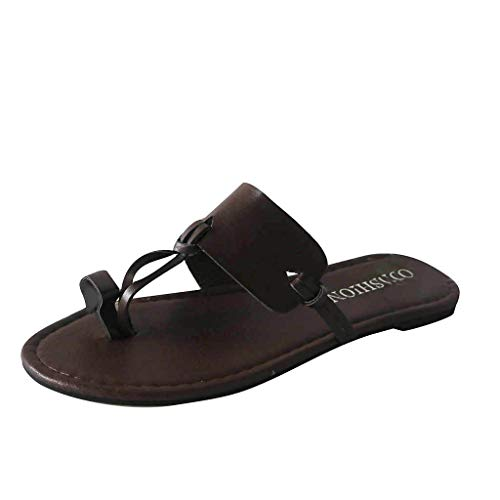 Kailemei Women Summer Sandals Flip Flops Flat Round Toe Slip On Slipper Casual Shoes Brown