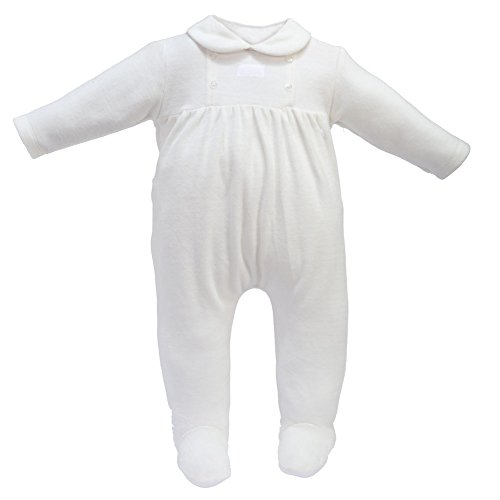Infant Footie Pajamas 1 pc Baby Button Velour Footed Romper Sleeper 6M Ivory