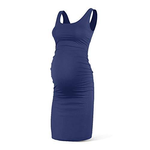 Rnxrbb Women Summer Sleeveless Maternity Dress Pregancy Tank Scoop Neck Mama Clothes Casual Bodycon Clothing,Navy-S