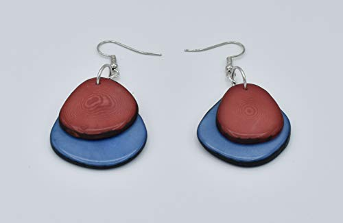 Tagua Nut Earrings in Pink and Blue ()