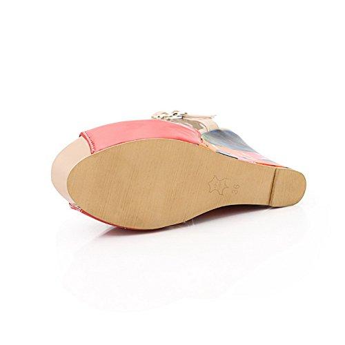 VogueZone009 Womens Open Peep Toe High Heel Wedge Platform PU Patent Leather Assorted Colors Sandals Watermelonred B8uKS