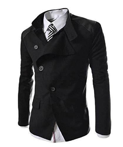HEFASDM Men Premium Mandarin Collar Jacket Coat Stitch Jacket Blazer Coat Black S