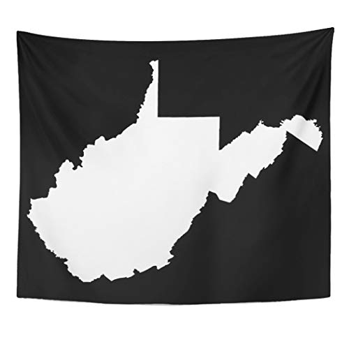 Semtomn Tapestry Artwork Wall Hanging Souvenir West Virginia White and Shape State 50x60 Inches Tapestries Mattress Tablecloth Curtain Home Decor Print]()