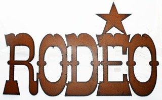 Western Decor Rustic Metal sign Cowboy Art Rodeo Star Bronco Bull (Bull Rider Rodeo)