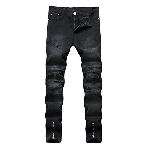 Cerniera Slim Stretch Skinny Fit Denim Jeans Pantaloni Di Abbigliamento Uomo Ripped Cher Da Straight Pants Blu Leisure Zipper Cotone Casual Holes gxEfq