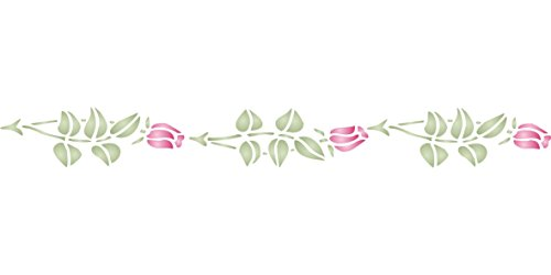 "Rose Bud Stencil - (size 7.5""w x 1.5""h) Reusable Wall Stencils for Painting - Best Quality Wall Border Flower Stencil Ideas - Use on Walls, Floors, Fabrics, Glass, Wood, Terracotta, and More…"