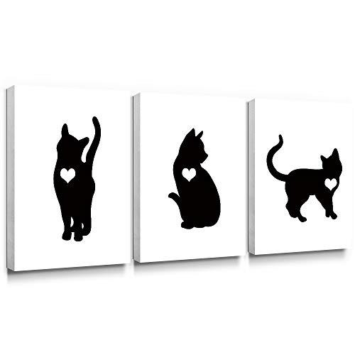 Gronda Animal Canvas Wall Art Black Cat Painting Framed Artwork Home Decor Ready to Hang for Living Room Bedroom Bathroom 12×16Inch, 3 Panels