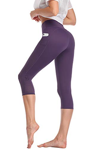 High Waisted Yoga Pants Capri Workout Leggings for Women with Pockets Tummy Control Non-See-Through Mesh Running Compression Capris for Exercise Fitness Gym Athletic Purple-M