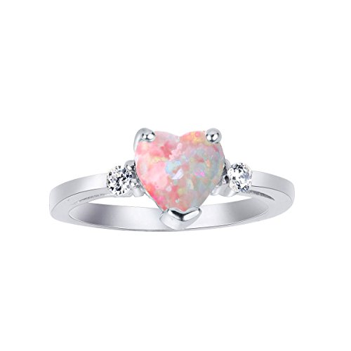 CloseoutWarehouse Pink Simulated Opal Cubic Zirconia Heart Ring Sterling Silver Size 5