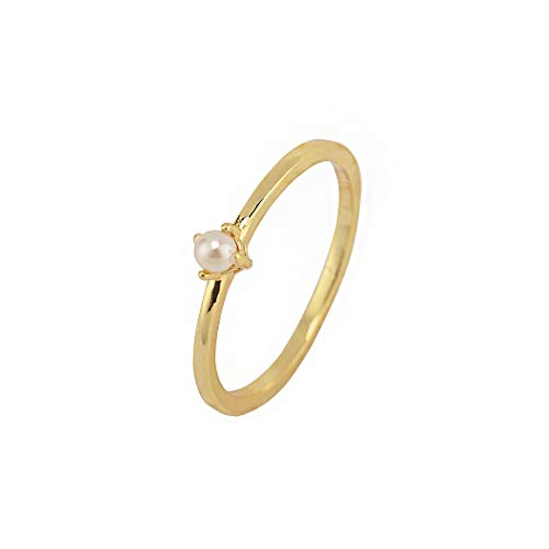 (CHICY 18K Gold Tiny Fresh Pearl Stackable Finger Rings Size 6 7 8 for Women Girls Birthday Gift Jewelry (6) )