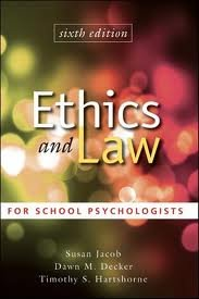 Ethics and Law for School Psychologists by Jacob, Susan Published by Wiley 6th (sixth) edition (2010) Hardcover