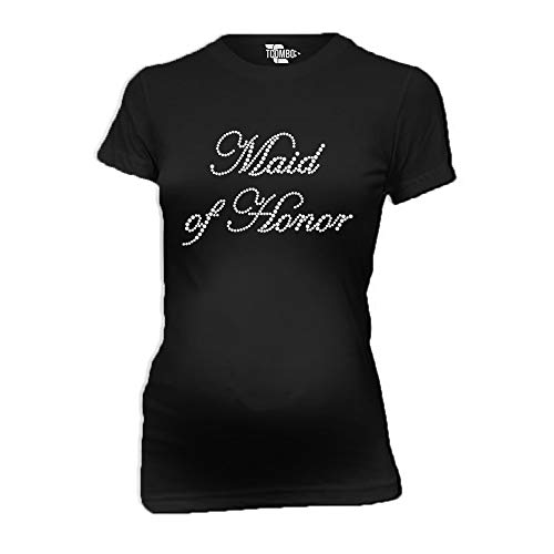 Maid of Honor Rhinestone Women's Maternity T-Shirt (Black, X-Large) ()