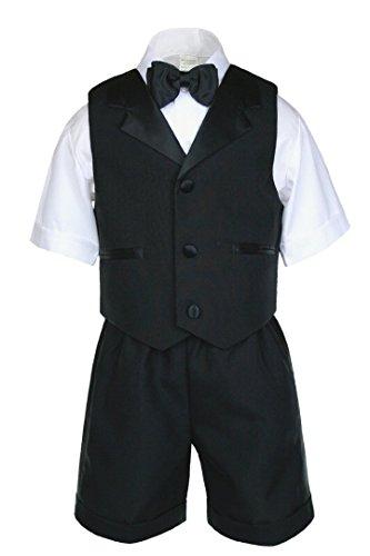 Unotux Boy Eton Formal Black Short Vest Set Suit Christening Baptism Easter S-4T (L:(12-18 months))