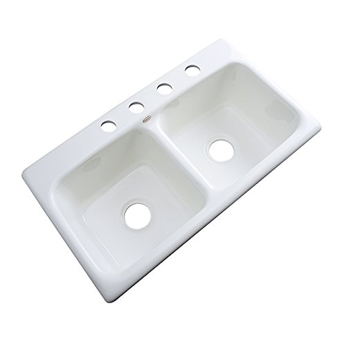 Self Rimming Bowl Hole Double (Dekor Sinks 64400 Englewood Cast Acrylic Double Bowl Kitchen Sink-4 Hole, 33