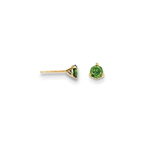 FB Jewels 14k Yellow Gold .50ct. Green Diamond Stud Earrings