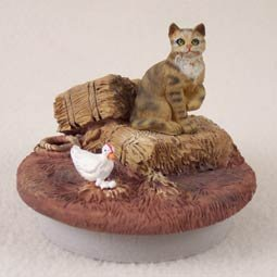 Conversation Concepts Miniature Brown Shorthaired Tabby Cat Candle Topper Tiny One ''A Day on the Farm'' (Set of 6)