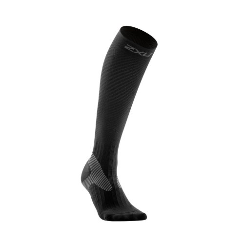 2XU Men's Elite Compression Performance Sock (Black/Grey, X-Small)
