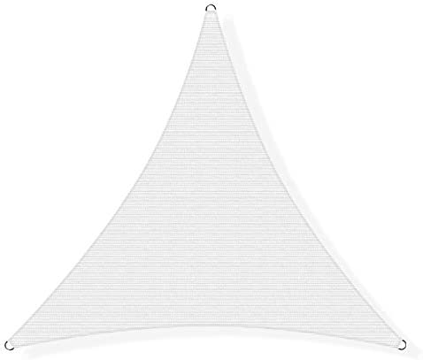 Amgo ATAPT24 Custom Size 24 x 24 x 24 White Triangle Sun Shade Sail Canopy Awning, 95 UV Blockage, Water Air Permeable, Commercial and Residential Custom