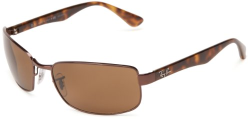 Ray-Ban Men RB3478 014/57 Polarized Sunglasses Brown Frame/Crystal Brown - Ray Rectangular Sunglasses Ban
