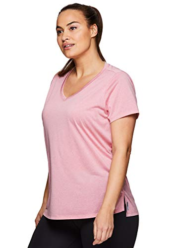 Womens Pink Out T-shirt - RBX Active Women's Plus Size Heathered Mesh Yoga Workout T-Shirt Mesh Pink 1X