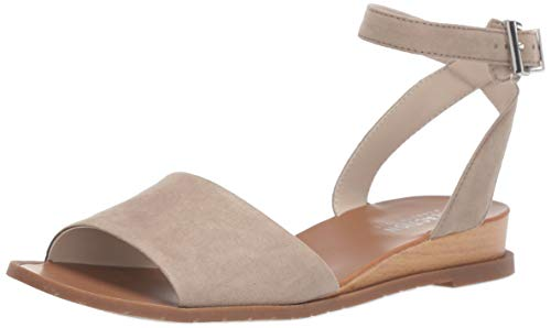Kenneth Cole REACTION Women's Jolly Low Wedge Sandal with Ankle Strap Flat, Taupe, 9 M US